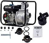 DeTec. DT-LBB80 Benzin-Wasserpumpe mit Motor 3 Zoll | Gartenpumpe (6,5 PS Motorleistung, 60000 L/h, Laufzeit: 8-9 Stunden, Max. Förderhöhe: 28 Meter, Max. Ansaughöhe: 7 Meter)