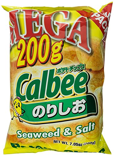 Calbee Mega Potato Chips - Seaweed and Salt Flavor, 7.05 Ounce (Pack of 2)