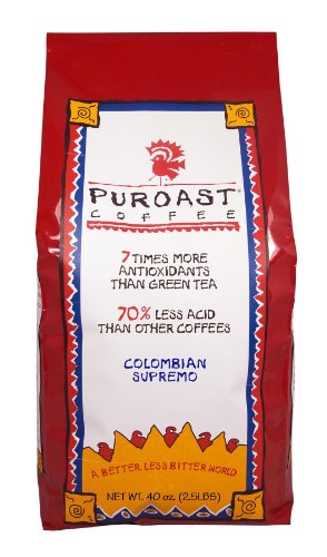 Puroast Coffee Low Acid Whole Bean Coffee, Colombian Supremo Blend, High Antioxidant, 2.5 Pound Bag, 40 Ounce (Pack of 1) (SYNCHKG026345)