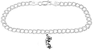 Jewels Obsession Flower Pendant Sterling Silver 20mm Flower with 7.5 Charm Bracelet
