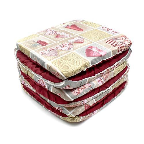 takestop Set 6 COPRISEDIA Cuscini Rosso Panna Fiocco Cuori con Fascia Elastico Cuscino per SEDIE Imbottito SFODERABILE Shabby Chic