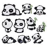 Androxeda Pegatinas Bordadas de Panda, Cada Caja de 10 Lindos Parches Bordados de Panda, utilizados para decoración de Ropa/Chaqueta de Bricolaje/Jeans/Pantalones.