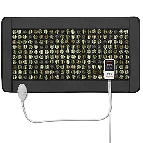 UTK Quantum Wave Heating Mat,Infrared Heating Pad for Pain Relief,32 Passive Magnet Stones,40 Tourmaline Stones,148 Natural Jade Stones,Memory Function,Auto Shut Off (Mplus: 21'' x 38'')