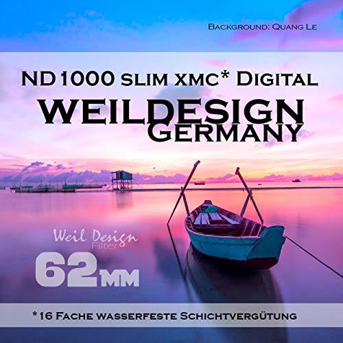 Graufilter ND Filter 1000 Slim XMC Digital Weil Design Germany * 10 Blendenstufen * Frontgewinde * 16 Fach XMC vergütet * inkl. Filterbox (Graufilter ND Filter 62mm)