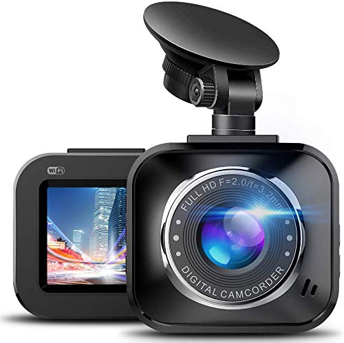 Price comparison product image Dash Cam - 1080P HD Mini WiFi Car Camera with Mobile Phone App,  Wide Angle,  G-Sensor,  Infrared Night Vision,  WDR,  Motion Detection Car Driving Recorder,  Loop Recording for Car and Truck