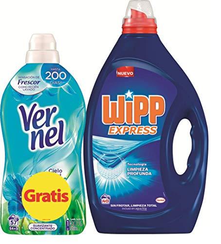 WiPP Express Wipp Express Gel Azul 40 Dosis + Vernel Suavizante Cielo Azul 57 Dosis 6271 ml