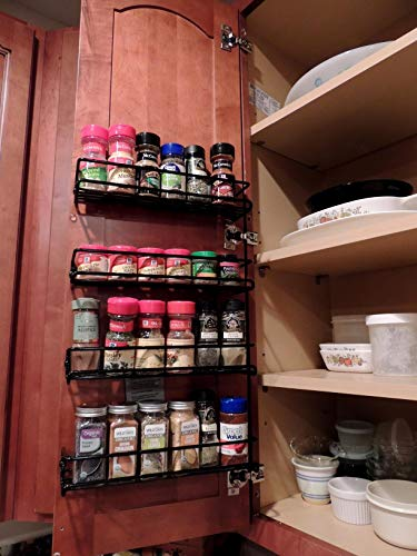 Spice Rack Organizer for Cabinet, Door Mount, or Wall Mounted - Set of 4 Black Hanging Shelf for Spice Jars - Storage in Cupboard, Kitchen or Pantry - Display bottles on shelves, in cabinets