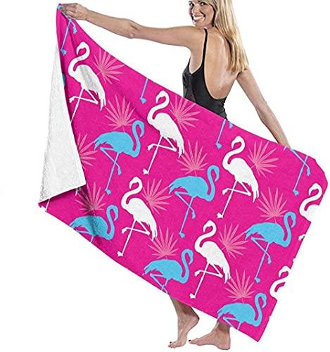 Toalla de Playa Grande 80x130cm,Rosa con Flamingo,Toalla Microfibra,Suave,Absorbente Viaje Toallas de Mano de Hombres,Niños,Natación,Playa,Camping