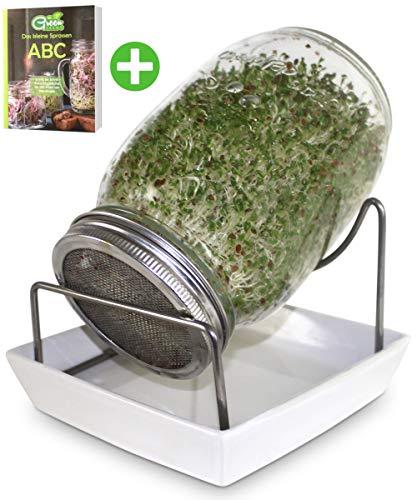GreenSeeds Sprossenglas Keimglas 1er Set 1000ml mit hochwertigem Edelstahl-Gitterdeckel, Ständer, Keramikschale + GRATIS Sprossen-ABC [E-Book]