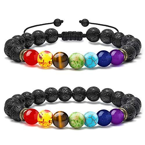 M MOOHAM Lava Stone Bracelets – 2 PCS Natural Stone 7 Chakras Lava Rock Stone Bead Bracelet, Men Women Stress Relief Yoga Beads Aromatherapy Essential Oil Diffuser Bracelets Bangles