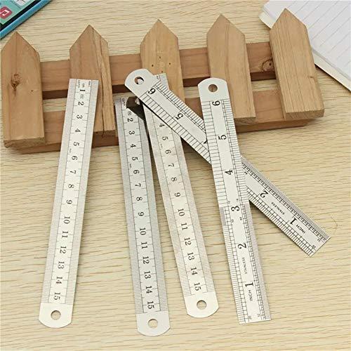 Del lado del doble del acero inoxidable de medición recta regla métrica de plata 5pcs 15cm Para carpintero carpintería