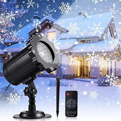 Proiettore Luci Natale, Luce di Caduta Della Neve con Impermeabile IP65 Due Temperature di Colore Telecomando RF ProiettoreNataleEsterno Lampada Natale Proiettore Neve per Natale Festa Decorazioni