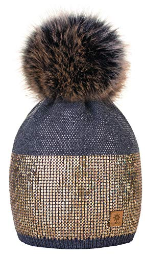 4sold 4sold Damen Wurm Winter Style Beanie Strickmütze Mütze mit Fellbommel Bommelmütze Hat Ski Snowboard Pelz Bommel Pompon Kleine Kristalle Sequins Crystals (Dunkelgrau)