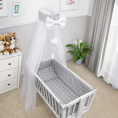Baby Bettwäsche Set Wiege Wiege 3 Teile Kissen Abdeckung Bettbezug Nestchen Passend Für Wiege 90x40CM - Weiß Stars Auf Grau