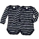 wellyou, 2er Set Kinder Baby-Body Langarm-Body, Marine-blau weiß gestreift, Geringelt, für Jungen und Mädchen, Feinripp 100% Baumwolle, Größe 116-122