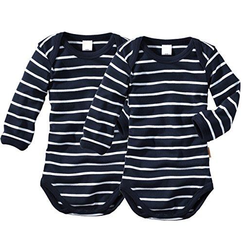 wellyou Baby und Kinder langarmbody/babybody mädchen und junge aus 100% Baumwolle, langarm body 2er Set in marine weiß, Blau, 104 - 110