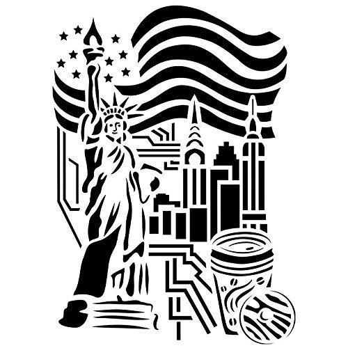 Ideen mit Herz Laser-Kunststoff-Schablone, DIN A4   perfekt geeignet für Textilgestaltung, Wandgestaltung, Fenster, Papier, Scrapbooking, Kinder, Basteln, DIY (New York)