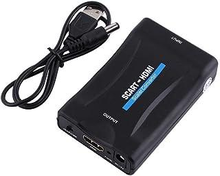Diyeeni Scart to HDMI Converter,Mini TV HD de 720p/1080p Caja De Adaptador De Audio/Video Convertidor De Escalador,Compatible con HDMI1.4, PAL,NTSC3.58, NTSC4.43,SECAM,PAL/M,PAL/N estándar
