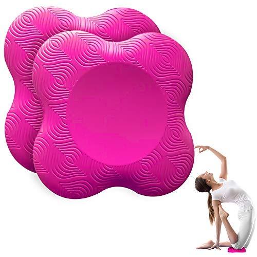 munloo 2 Piezas Rodillera Yoga, Colchonetas de Yoga Antideslizantes para Las Rodillas, Resistente al Desgaste, Protege Las Rodillas, Las Manos, Las Muñecas y los Codos (Rosado)