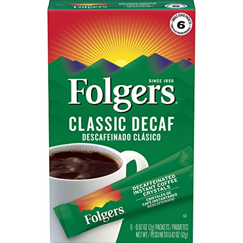 Folgers Classic Decaf Instant Coffee Crystals Packets, 6 Count (Pack Of 12), packaging May Vary, Instant, 12Count