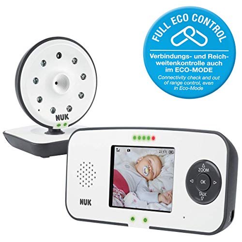 NUK Eco Control 550VD digitale babytelefoon, met camera en videodisplay, tot 4 camera's toe te voegen, vrij van hoogfrequente straling in eco-modus