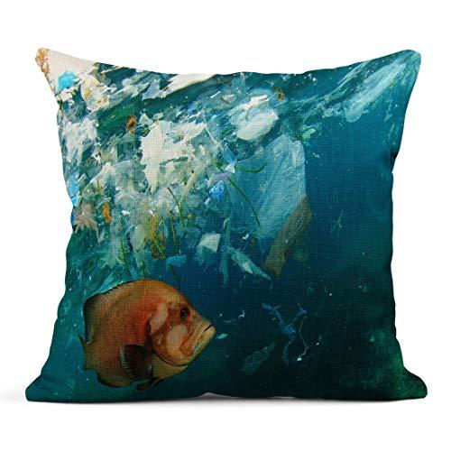 Kinhevao Cojín Rojo Animal Pez y contaminación de plástico en el mar Microplásticos Contaminar Mariscos Océano Cojín de Lino Almohada Decorativa para el hogar