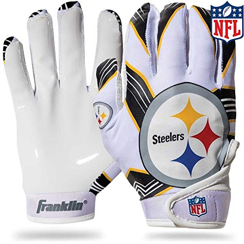 Franklin Sports Pittsburgh Steelers Youth NFL Football Receiver Gloves - Receiver Gloves For Kids - NFL Team Logos and Silicone Palm - Youth M/L Pair