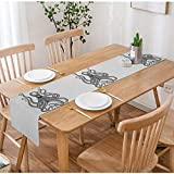 Swono Octopus Table Runner,Hand Drawing Vintage Engraving Octopus On White Backgroud Table Runner Cloth Cotton Linen for Kitchen Coffee/Tea Table Dinner Room Non-Slip 14'X72'