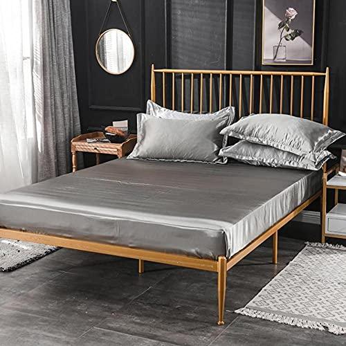 XGguo Protector de colchón - óptimo antiácarosSábana de Cama Pure Color Full Covered Bed Cover-Grey_150x200cm