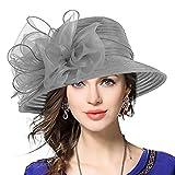VECRY Señora Oaks Derby Iglesia Vestido Sombrero Bucket Boda Bowler Sombreros (Gris)