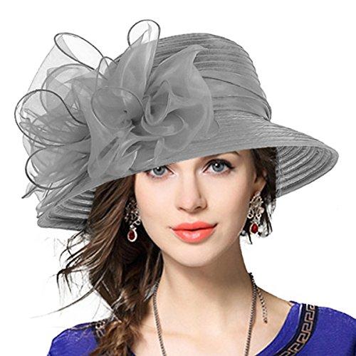 VECRY Lady Derby Dress Church Cloche Hat Bow Bucket Wedding Bowler Hats (Grey)