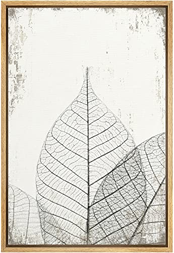 wall26 Framed Canvas Print Wall Art Transparent Black & White Leaf Trio on Grunge Background Floral Nature Illustrations Modern Art Rustic Dramatic for Living Room, Bedroom, Office - 24