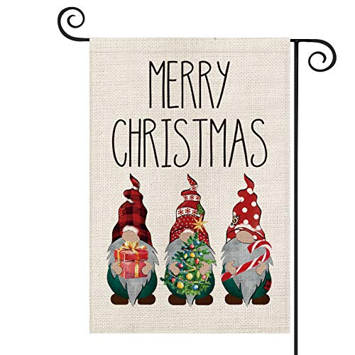 AVOIN Merry Christmas Buffalo Check Plaid Polka Dot Gnomes Garden Flag Vertical Double Sized, Winter Holiday Party Tree Candy Cane Yard Outdoor Decoration 12.5 x 18 Inch