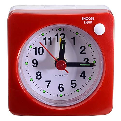 Ssbhjxb Amarillo de la Cama Cuadrada de escaneo silencioso Reloj de Alarma Silent Snooze Despertador sin Ruido de tictac y Snooze LED Decoración de luz Despertador (Color : Red)