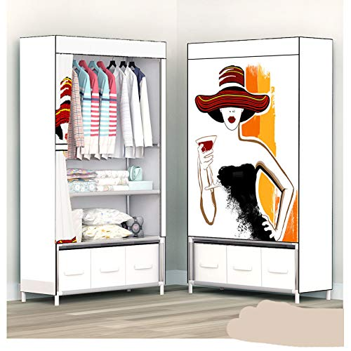 FEKGHJMO Kleiderschrank Mit Schublade Tragbarer Faltvorhang Kleiderschrank Verstärkter Rahmen Schlafzimmermöbel