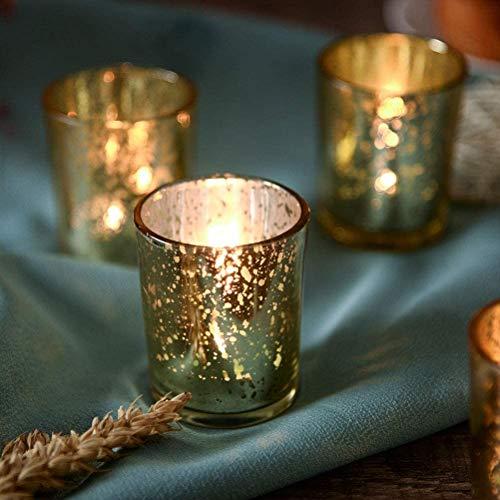 NEWLIGHTRUE Gold Glas TeelichtHalter 48 Stücke Votive Kerzenhalter Geschenk Tischdeko für Geburtstag, Ostern, Hochzeit, Muttertag (Gold)