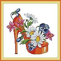 刺繍キット大人用プリントクロスステッチキットファッションハイヒール11CT刺繍写真DIYアート初心者子供用クロスステッチキットユニークなギフトホームデコレーション、40x50cm