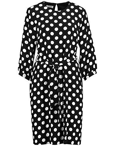Gerry Weber Damen Kleid Mit Polka Dots Figurumspielend, Tailliert Schwarz/Ecru/Weiss Druck 40
