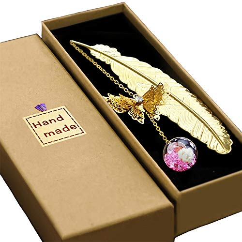 Konrisa Reader Gift Classical Bookmarks Metal Feather Butterfly Pendants with Flower Creative Bookmark for Women Men Perfect Gift for Girls Kids (Gold Color)