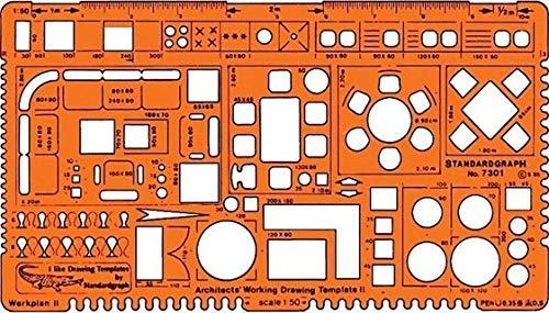 Plantilla de dibujo arquitectónico a escala 1,50 – suministros de dibujo técnico arquitectónico – símbolos de muebles para el diseño de planta interior de la casa