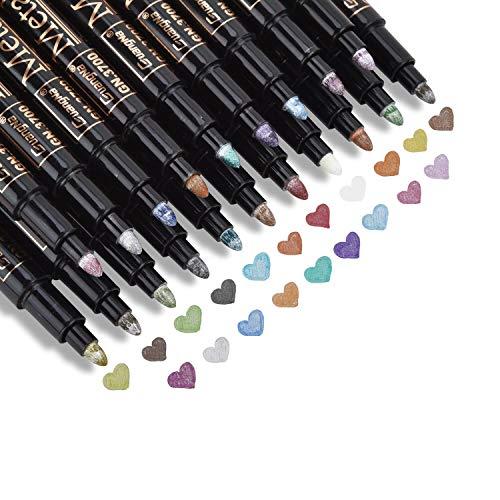 DealKits Premium Metallic Marker, 20 colores Metallic Stift Pen para Kartenherstellung DIY Fotoalbum Gästebuch bodas papel vidrio plástico piedra