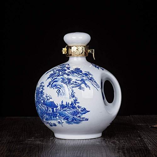 Ybzx Sake Pot Artesanía de Porcelana Retro Tradicional/Jarra de Vino/Jarra de Vino, 1000ML (Color: Porcelana Azul y Blanca)