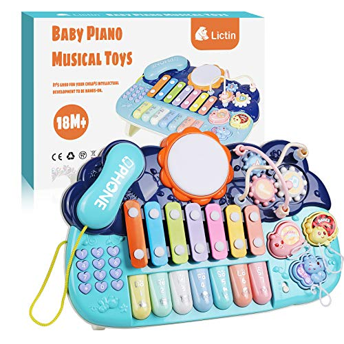 Lictin Early Educational Music Toy - 4 in 1 Kid Musical Instruments Learning Piano Instruments Toys with Light Xylophone Phone Sound Toy Set for Baby