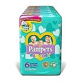 Pampers Baby Dry Pañales extralargos, talla 6 (15-30 kg), 6 paquetes de 19 (114 pañales)