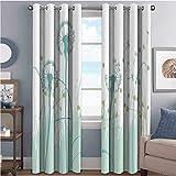 Toopeek - Cortina aislante con diseño de diente de león, diseño floral, diseño de botánica, para sala de estar o dormitorio, 42 x 36 pulgadas, color caqui y verde