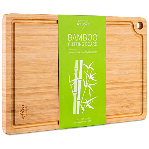 Chopping Board, Organic Pre-Oiled Bamboo Cutting Board with Juice Groove for Meat, Cheese, Fruit & Vegetables, Kitchen Butcher Block with Hanging Hole, 100% Natural BPA Free SKY LIGHT-Medium