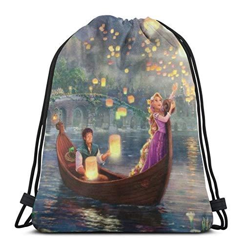 Ontwiesy Bolsas con cordón de Rapunzel unisex con cordón, bolsa de deporte, bolsa de cuerda grande con cordón, mochila de gimnasio a granel