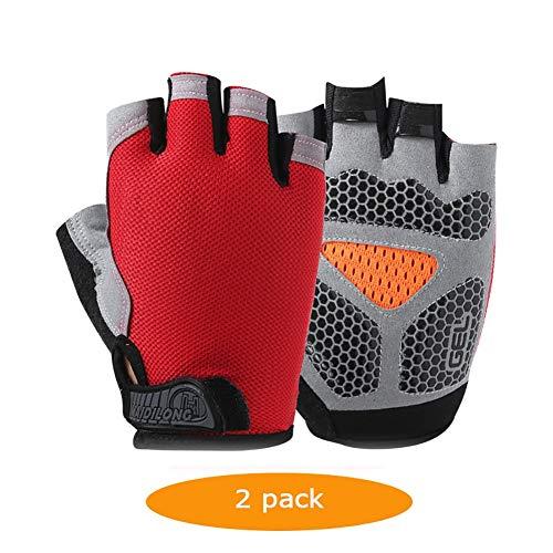 JLWDD 2 Paar Mountainbike Handschoenen Racefiets Handschoenen Anti-slip Schokabsorberende Ademende Half Finger Fietshandschoenen voor Mannen
