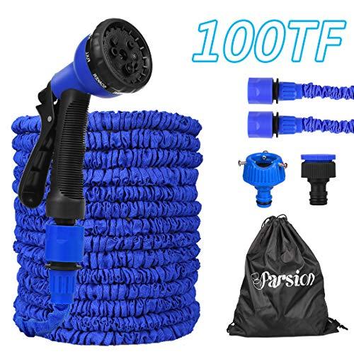 Gartenschlauch Flexibler 30m 100FT Dehnbarer Flexischlauch Flexi Wasserschlauch Flexibel Multisfunktionsbrause mit 8 Funktionen für Gartenbewässerung, Autowäsche, Haus Spülen, PET-Bäder (Blau, 30m)