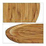 Relaxdays Servierplatte Bambus rund D ca. 33 cm Bambusteller zum Anrichten als Servierteller und Serviertablett für Wurst Käse Obst Gebäck Snacks uvm. nutzbar Snacktablett auch als Dekoteller, natur - 4